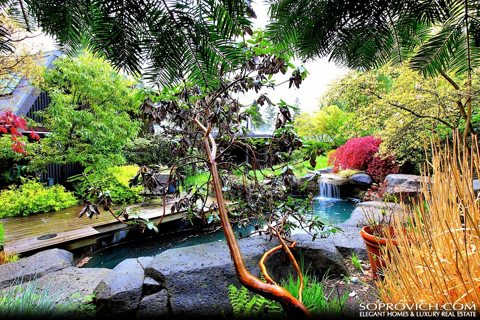 Outdoor Koi Pond Surrounded By Sensational Gardens Pricey Pads