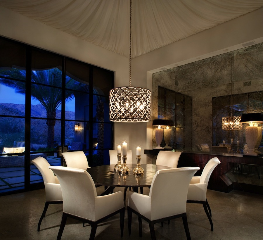 Contemporary dining room with high ceiling pendant light - Dining room lighting ...