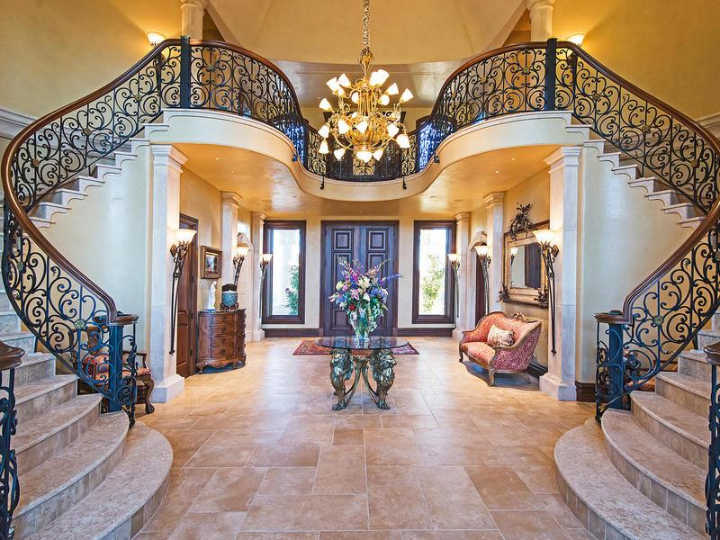 Traditional Foyer Games : Traditional entryway with wall sconce french doors