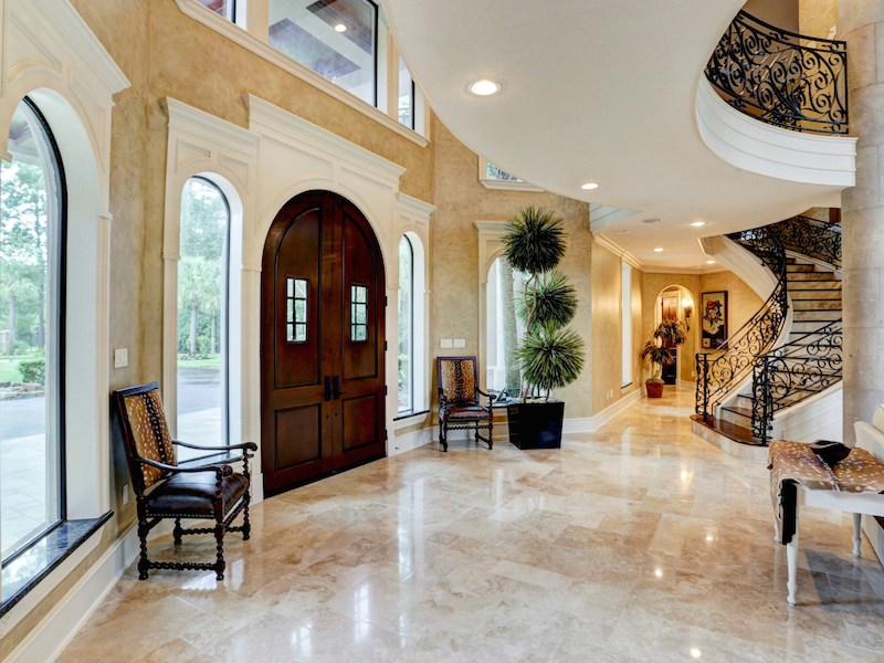 Traditional Foyer Games : Traditional entryway with travertine tile floors french