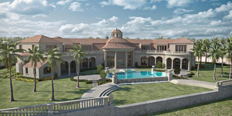 Unfinished 35 000 sq ft palm beach mansion lists for 84 for Mansions for sale on the beach